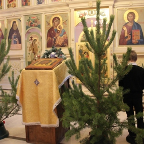 Рождественский сочельник. Служба в храме Святителя Николая с.Макарово 6 января 2015г.