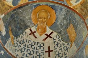 Фреска Дианисия - «Святитель Николай» в храме Рождества Богородицы (Ферапонтов Белозерский монастырь)