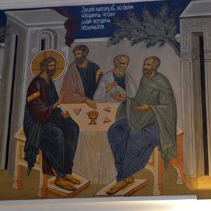 Фрагмент росписи в Свято-Никольском храме с.Макарово на Евангелие от Луки (гл.19 ст.1-10)