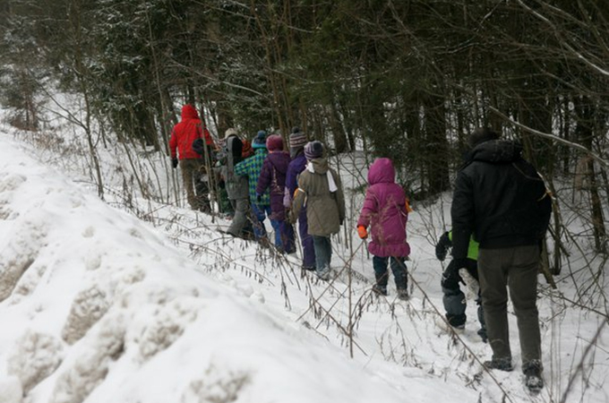 Приходилось идти по снегу, но наст был очень прочным.