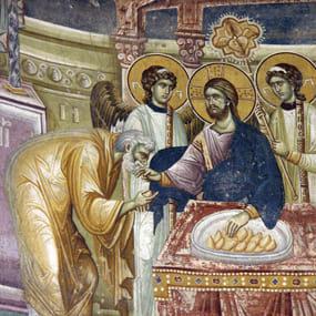 Евхаристия, фреска, XIV в. монастырский храм свм. Георгия, Старо Нагоричане, Северная Македония