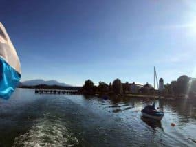 Химское озеро расположеное в предгорьях Альп