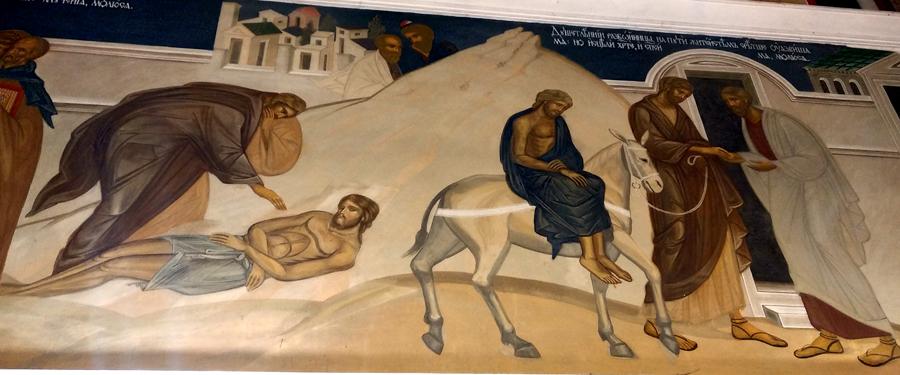 Фреска в Никольском храме с. Макарово. Притча о милосердном самарянине (Лк, 10:25-37). Фото Дмитрий Ермошкин.